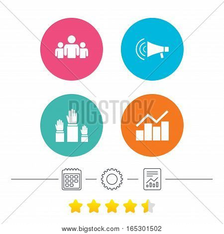 Strike group of people icon. Megaphone loudspeaker sign. Election or voting symbol. Hands raised up. Calendar, cogwheel and report linear icons. Star vote ranking. Vector