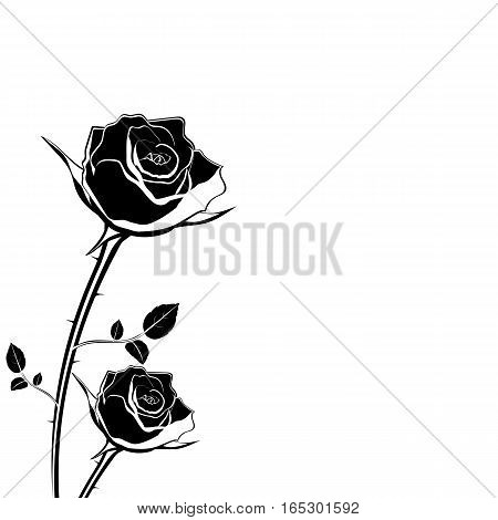 silhouette of rose flower on a white background vector illustration