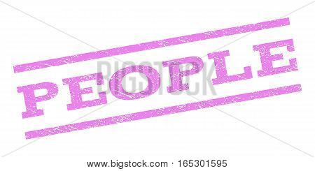 People watermark stamp. Text tag between parallel lines with grunge design style. Rubber seal stamp with unclean texture. Vector violet color ink imprint on a white background.