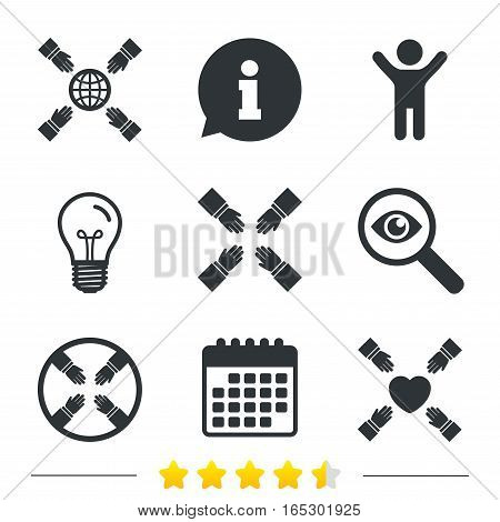 Teamwork icons. Helping Hands with globe and heart symbols. Group of employees working together. Information, light bulb and calendar icons. Investigate magnifier. Vector