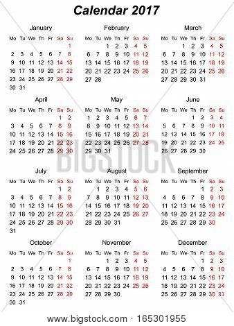 Calendar vertical to the year 2107. . vector graphics
