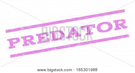 Predator watermark stamp. Text tag between parallel lines with grunge design style. Rubber seal stamp with dust texture. Vector violet color ink imprint on a white background.