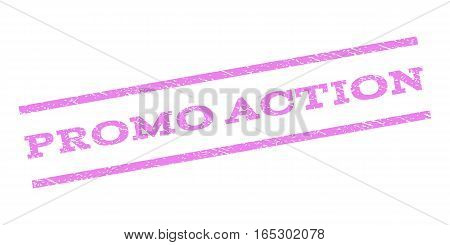 Promo Action watermark stamp. Text caption between parallel lines with grunge design style. Rubber seal stamp with scratched texture. Vector violet color ink imprint on a white background.