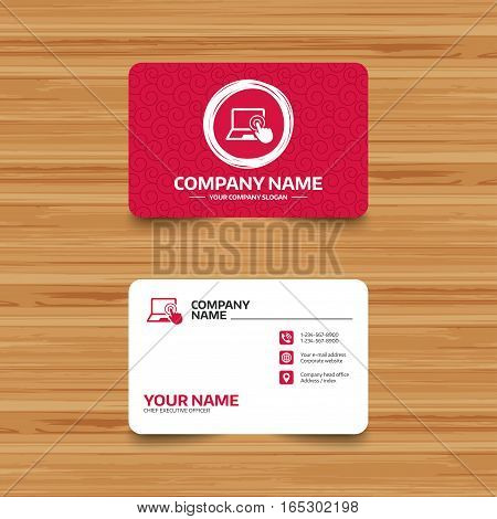 Business card template with texture. Touch screen laptop sign icon. Hand pointer symbol. Phone, web and location icons. Visiting card  Vector