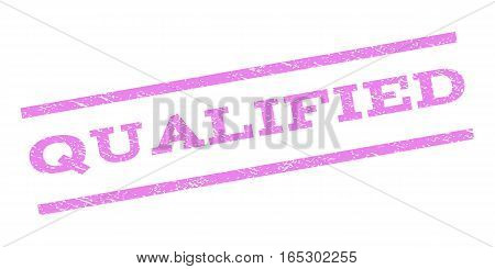 Qualified watermark stamp. Text tag between parallel lines with grunge design style. Rubber seal stamp with unclean texture. Vector violet color ink imprint on a white background.