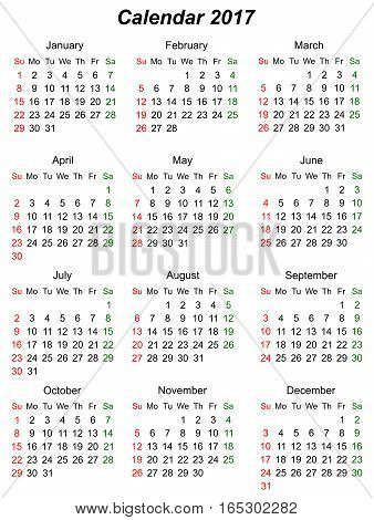 Calendar vertical to the year 2107. Sunday first.. vector graphics