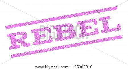 Rebel watermark stamp. Text caption between parallel lines with grunge design style. Rubber seal stamp with scratched texture. Vector violet color ink imprint on a white background.