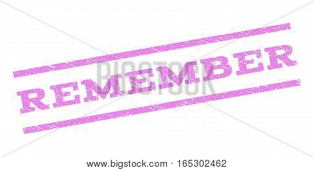 Remember watermark stamp. Text caption between parallel lines with grunge design style. Rubber seal stamp with unclean texture. Vector violet color ink imprint on a white background.