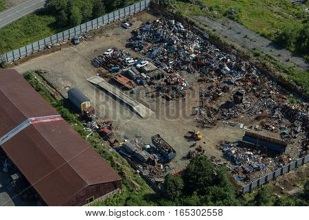 Dump of old cars in Petropavlovsk-Kamchatsky. View from the helicopter.