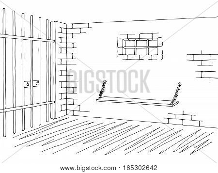 Prison jail interior graphic black white sketch illustration vector