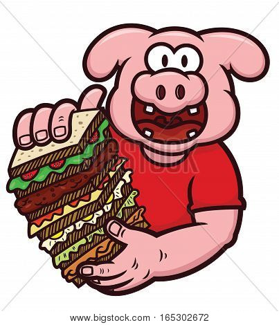 Pig with Big Size Sandwich Cartoon Illustration Isolated on White