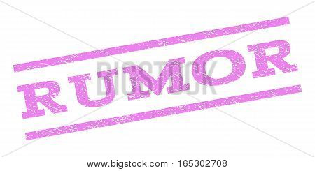 Rumor watermark stamp. Text tag between parallel lines with grunge design style. Rubber seal stamp with scratched texture. Vector violet color ink imprint on a white background.
