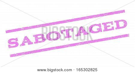 Sabotaged watermark stamp. Text tag between parallel lines with grunge design style. Rubber seal stamp with dirty texture. Vector violet color ink imprint on a white background.