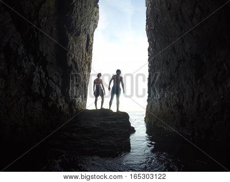 Sunlight peaking through the chasm in Newport, Rhode Island