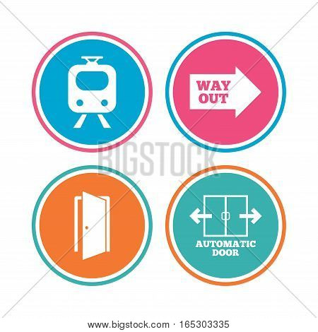 Train railway icon. Automatic door symbol. Way out arrow sign. Colored circle buttons. Vector