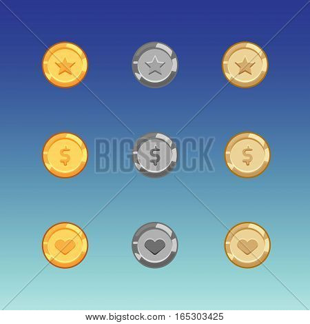 Flat cartoon coins for web, game or app interface. 9 golden, silver and bronze monet with star, money and heart. Modern color vector game art illustration on blue background.