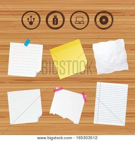 Business paper banners with notes. Usb flash drive icons. Notebook or Laptop pc symbols. CD or DVD sign. Compact disc. Sticky colorful tape. Vector