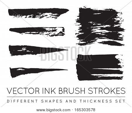 Set of Vector Black Pen Ink Brush Strokes. Grunge Ink Brush Stroke. Dirty Brush Stroke.