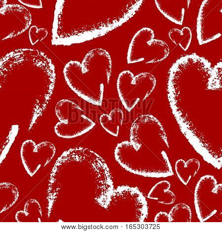 Seamless hand drawn hearts for Valentines Day. Heart background. Can used for fabric, wallpapers, wrapping paper, cards and web backgrounds. Vector illustration