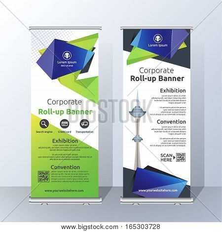 Vertical Roll Up Banner Template Design for Announce and Advertising. Abstract Green and Blue Layout Template. Vector illustration