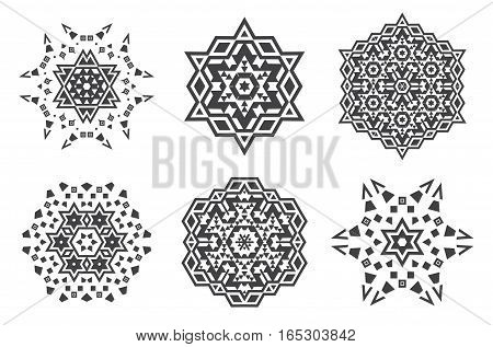Israel Jew Ethnic Fractal Mandala Vector looks like Snowflake or Maya Aztec Pattern or Flower