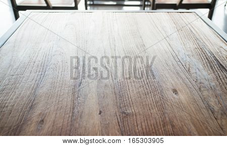Wooden table top in industrial style stock photo