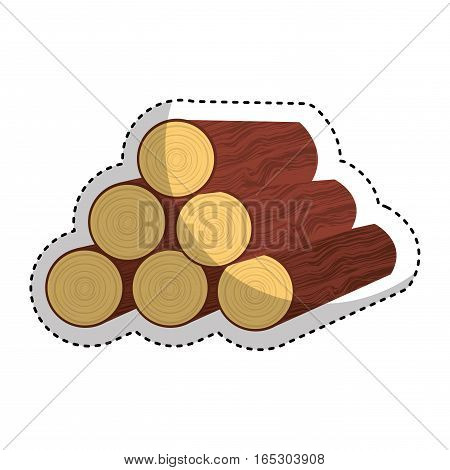 wooden logs resource icon vector illustration design