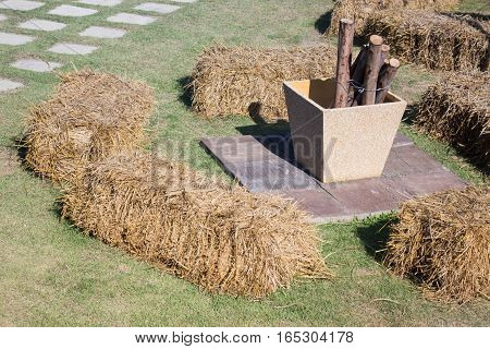 Dry rice straw in the garden stock photo