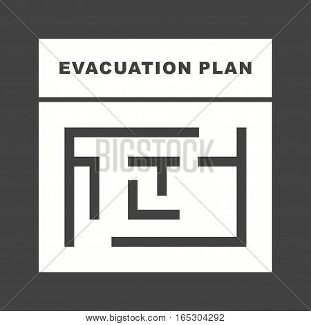 Plan, exit, evacuation icon vector image.