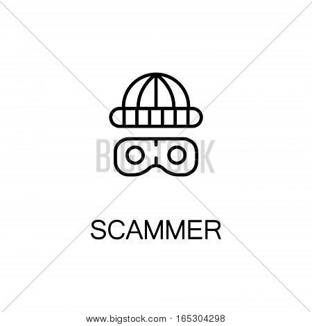 Scammer icon. Single high quality outline symbol for web design or mobile app. Thin line sign for design logo. Black outline pictogram on white background