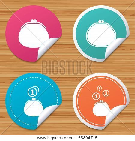 Round stickers or website banners. Wallet with coins icons. Cash bag signs. Retro wealth symbol. Circle badges with bended corner. Vector