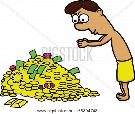 Rich Man Getting Ready to Jump to Treasures Cartoon Illustration