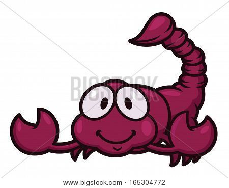 Scorpion Cartoon. Vector Illustration of Animal Character Isolated on White.