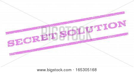 Secret Solution watermark stamp. Text caption between parallel lines with grunge design style. Rubber seal stamp with dust texture. Vector violet color ink imprint on a white background.