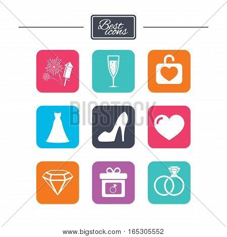 Wedding, engagement icons. Locker with heart, gift box and fireworks signs. Dress, heart and champagne glass symbols. Colorful flat square buttons with icons. Vector