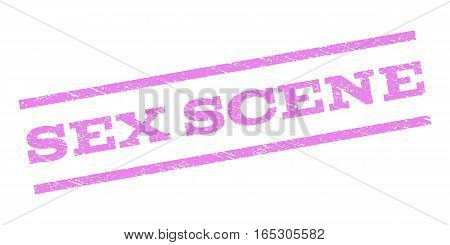 Sex Scene watermark stamp. Text tag between parallel lines with grunge design style. Rubber seal stamp with scratched texture. Vector violet color ink imprint on a white background.
