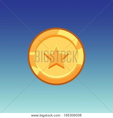 Flat cartoon coinsfor web, game or app interface. Golden monet with star. Modern color vector game art illustration on blue background.