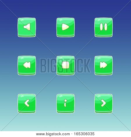Game buttons. Set of  buttons for gaming interfaces. Green square buttons. Vector GUI elements for mobile games. Game icons on blue background