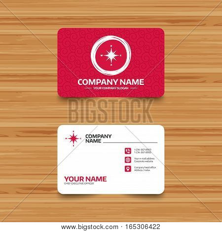 Business card template with texture. Compass sign icon. Windrose navigation symbol. Phone, web and location icons. Visiting card  Vector