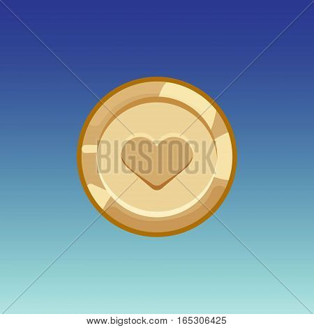 Flat cartoon coinsfor web, game or app interface. Bronze monet with heart. Modern color vector game art illustration on blue background.