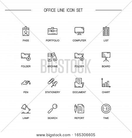 Office flat icon set set. Collection of high quality outline symbols of office for web design, mobile app. Vector thin line icons or logo of pass, archive, board, lamp, search, document.