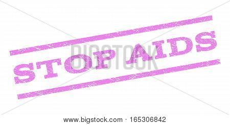 Stop AIDS watermark stamp. Text caption between parallel lines with grunge design style. Rubber seal stamp with unclean texture. Vector violet color ink imprint on a white background.