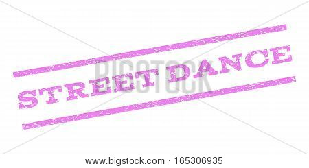 Street Dance watermark stamp. Text tag between parallel lines with grunge design style. Rubber seal stamp with dust texture. Vector violet color ink imprint on a white background.