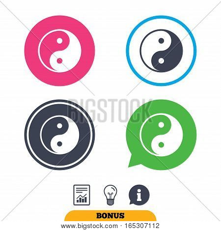 Ying yang sign icon. Harmony and balance symbol. Report document, information sign and light bulb icons. Vector