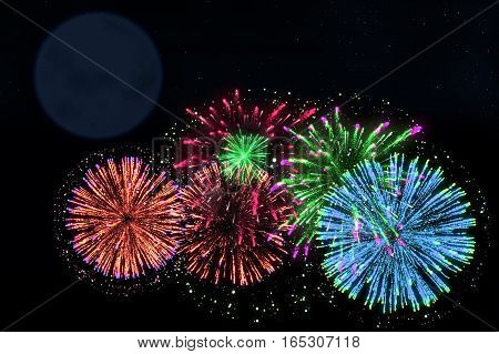 Colorful Firework On Midnight Blue Sky