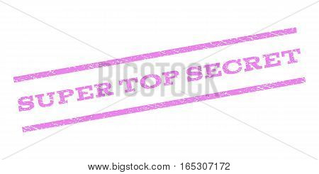 Super Top Secret watermark stamp. Text caption between parallel lines with grunge design style. Rubber seal stamp with dirty texture. Vector violet color ink imprint on a white background.