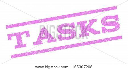 Tasks watermark stamp. Text caption between parallel lines with grunge design style. Rubber seal stamp with unclean texture. Vector violet color ink imprint on a white background.