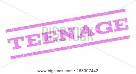 Teenage watermark stamp. Text caption between parallel lines with grunge design style. Rubber seal stamp with unclean texture. Vector violet color ink imprint on a white background.