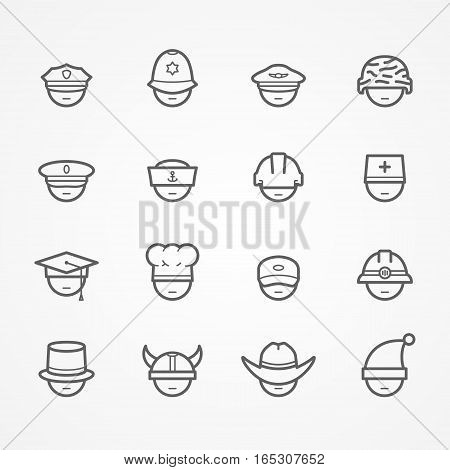 Set of peoples faces showing professions. Doctor worker driver policeman sailor pilot cook soldier miner cowboy. Minimalistic silhouette line style no eyes. People vector stock image.