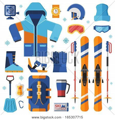 Mountain skiing gear and accessories collection. Ski jacket, avalanche rescue kit, snow boots, poles and other winter sport and activity essentials set. Skiing equipment vector elements set.